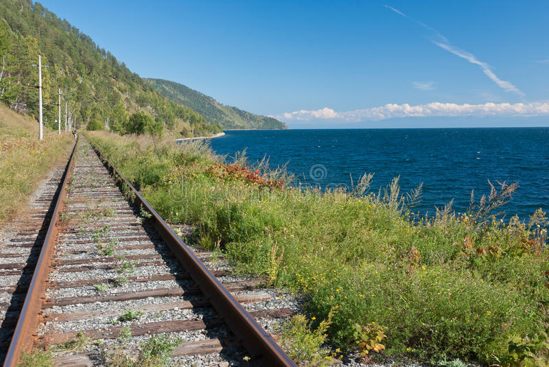 Trans Siberian railway. The old Trans Siberian railway on the shores of lake Baikal - Russia royalty free stock image