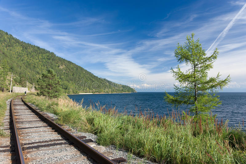 Trans Siberian railway. The old Trans Siberian railway on the shores of lake Baikal - Russia royalty free stock photography