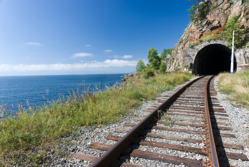 Trans Siberian railway. The old Trans Siberian railway on the shores of lake Baikal - Russia royalty free stock photo