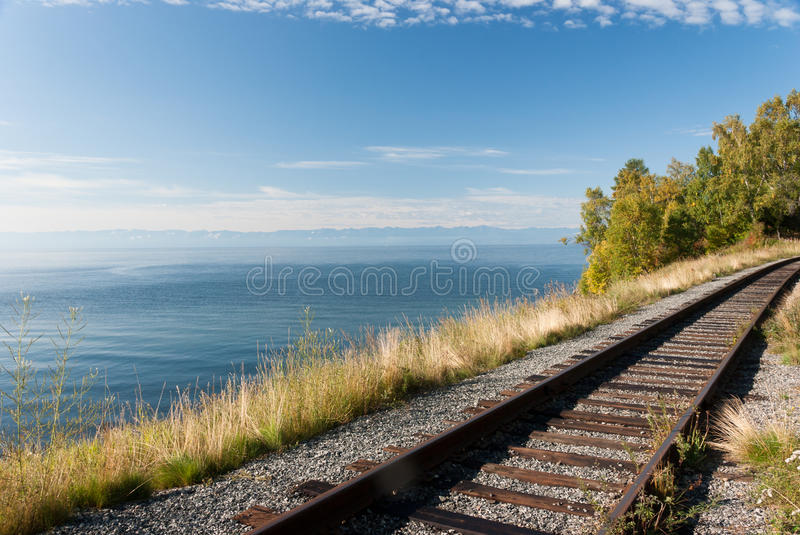 Trans Siberian railway. The old Trans Siberian railway on the shores of lake Baikal - Russia stock photo