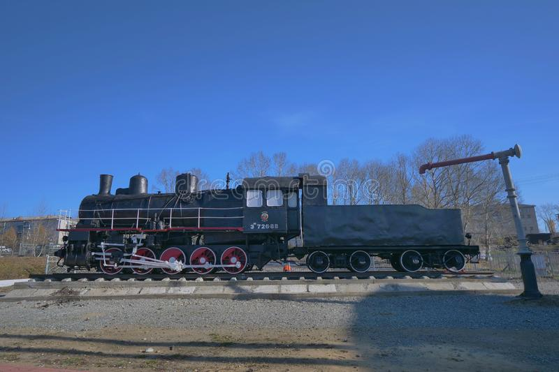 Trans Siberian railway track platform view and blue sky, Russia stock photography