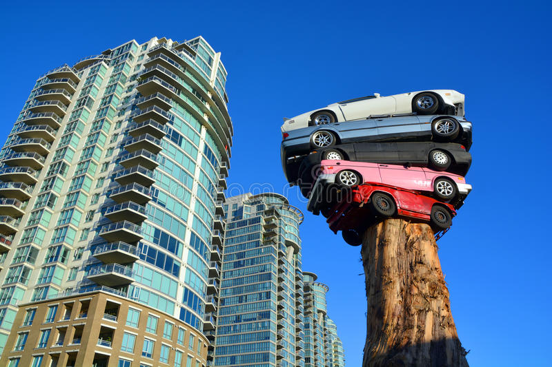 Trans Am Totem. VANCOUVER BC CANADA JUNE 9 2015: Trans Am Totem is a meditation on contemporary technological culture The sculpture is comprised of 5 discarded stock photos