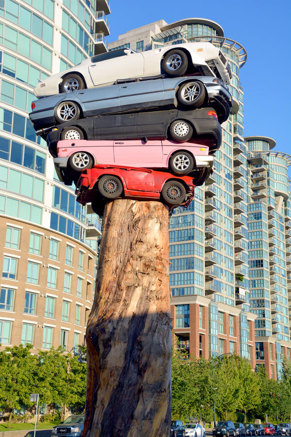 Trans Am Totem. VANCOUVER BC CANADA JUNE 9 2015: Trans Am Totem is a meditation on contemporary technological culture The sculpture is comprised of 5 discarded royalty free stock photos