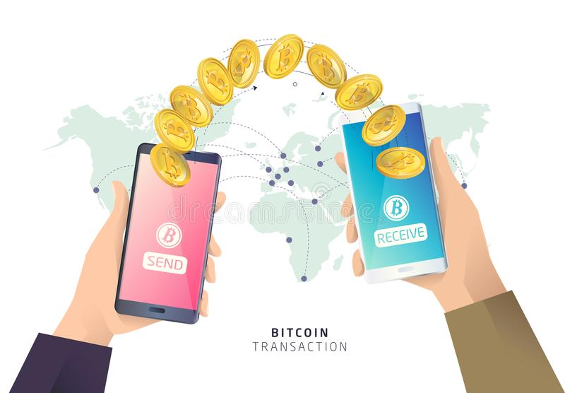 Transação de Bitcoin Ilustração isométrica do vetor ilustração royalty free