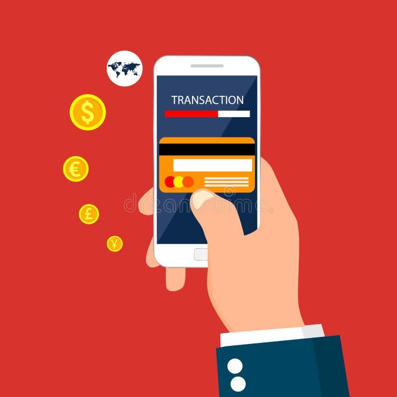 Transação do dinheiro, negócio, operação bancária móvel e pagamento móvel Ilustração do vetor ilustração royalty free