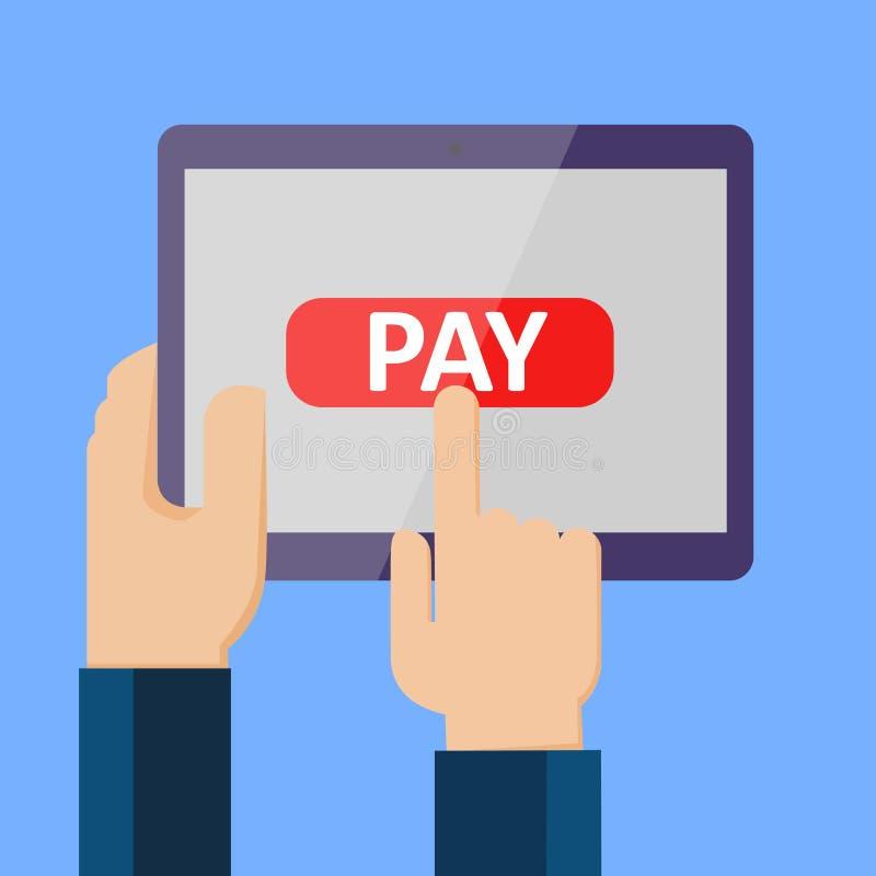 Transação do dinheiro, operação bancária móvel e pagamento móvel - ilustração stock