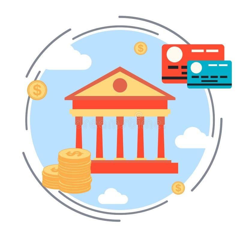 Transação do dinheiro, troca de moeda, cartão de crédito, conceito da operação bancária em linha ilustração do vetor