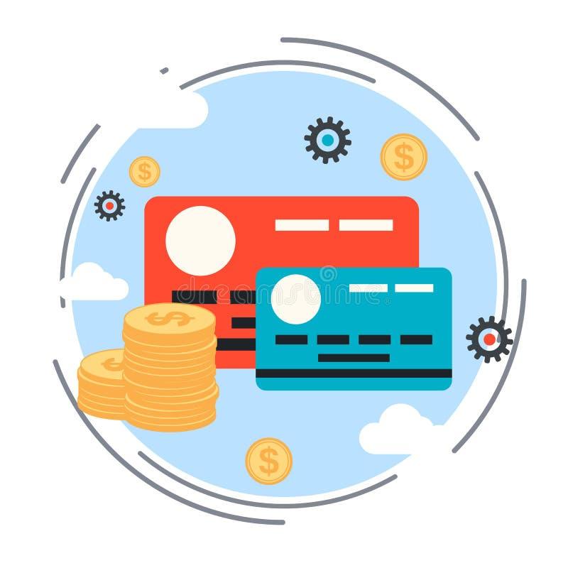 Transação do dinheiro, troca de moeda, conceito do cartão de crédito ilustração royalty free