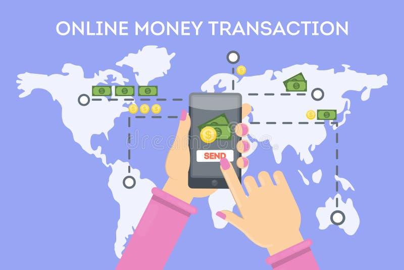 Transação em linha do dinheiro ilustração stock