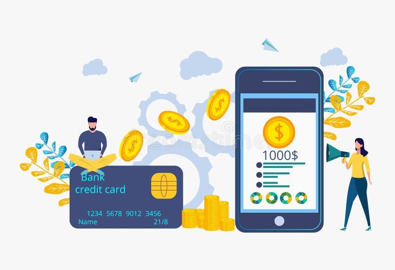 Transações financeiras, transações cashless do pagamento Metáfora de transferência de dinheiro ilustração do vetor