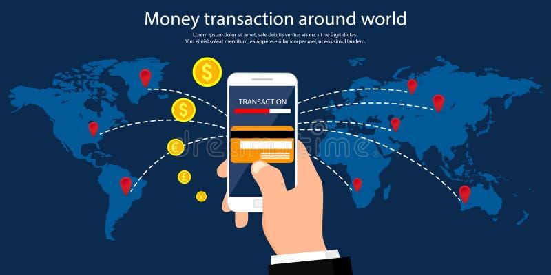 Transacción del dinero alrededor del mundo, del negocio, de actividades bancarias móviles y del pago móvil Ilustración del vector ilustración del vector