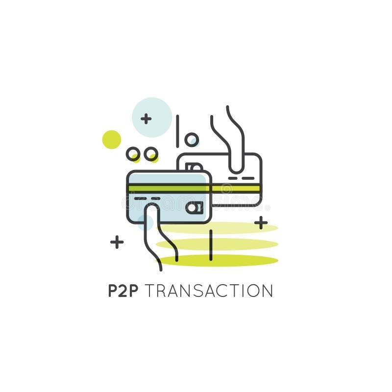 Transacción entre iguales, desarrollo del móvil y de aplicación de escritorio, transacción directa de fondos y dinero stock de ilustración