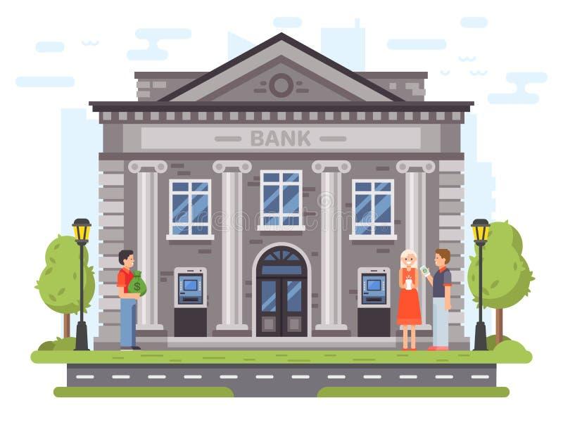 Transacciones bancarias Fachada del edificio de banco con las columnas La gente lleva el dinero a los bancos, utiliza la atmósfer libre illustration