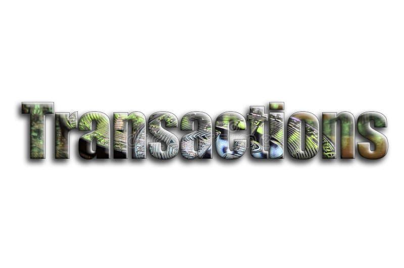 transacciones La inscripción tiene una textura de la fotografía, que representa varios bitcoins en un videocard del acelerador de stock de ilustración