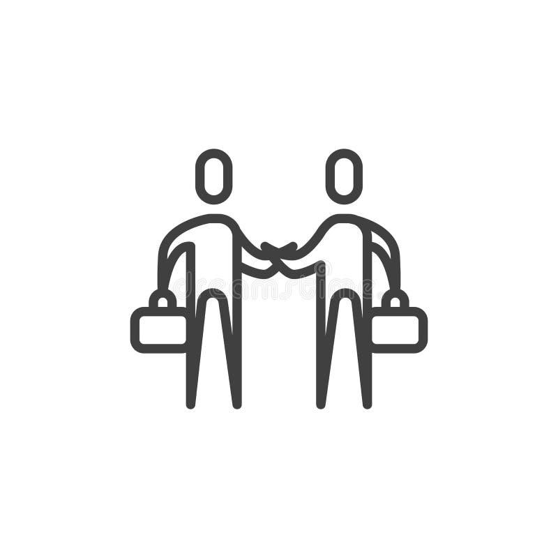Transactie, het pictogram van de overeenkomstenlijn vector illustratie