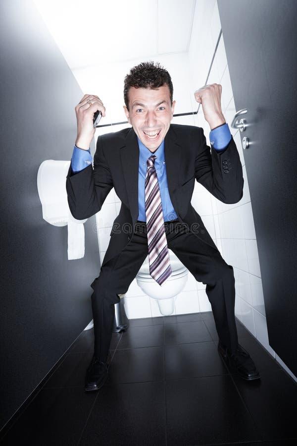 Transactie op toilet royalty-vrije stock afbeeldingen