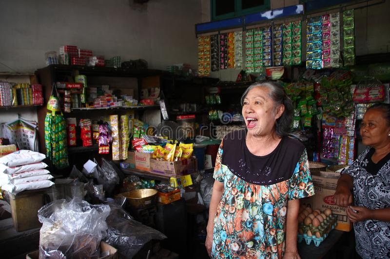 Transaction activities of various basic necessities at a grocery store. In Batang, Central Java, Indonesia September 21 stock photo