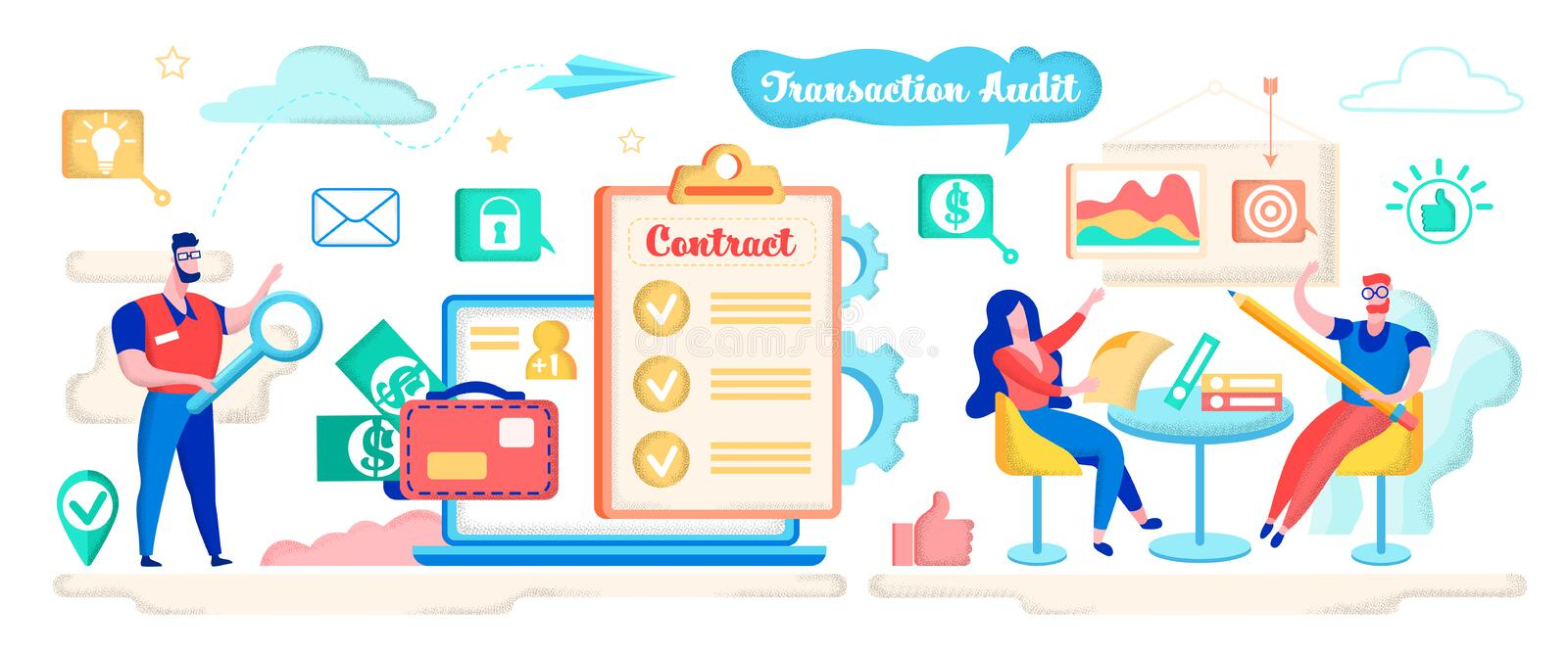 Transaction Audit, Check Contract with Magnifier. stock illustration