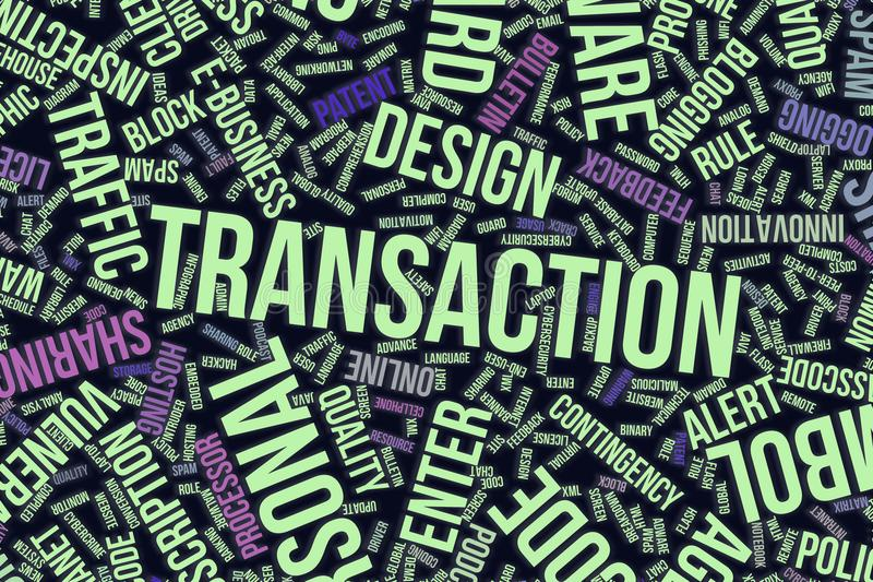 Transaction, conceptual word cloud for business, information technology or IT. royalty free illustration