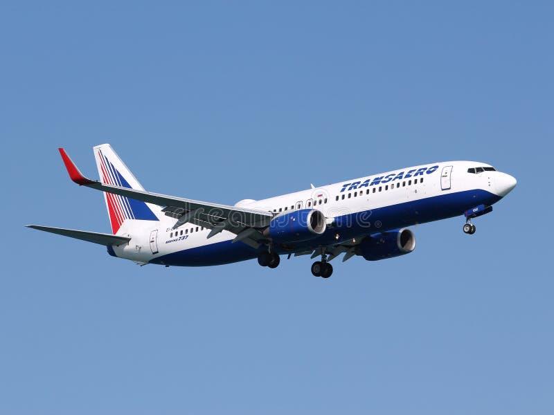 Transaero Boeing royalty-vrije stock afbeeldingen