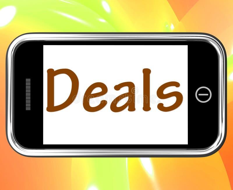 Transakci Smartphone przedstawienia Online Oferują tranzakcja I promocje ilustracja wektor