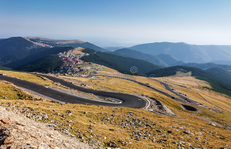 Transalpina the highest altitude road. Crossing the Caphatian mountains in Romania stock photo