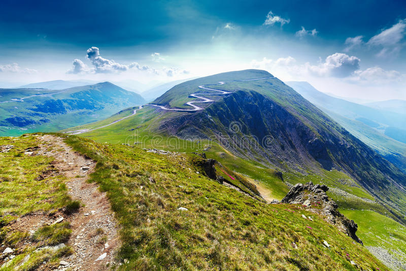 Transalpina road and Urdele peak in Romania royalty free stock images
