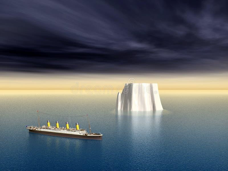 Transatlantico ed iceberg illustrazione di stock