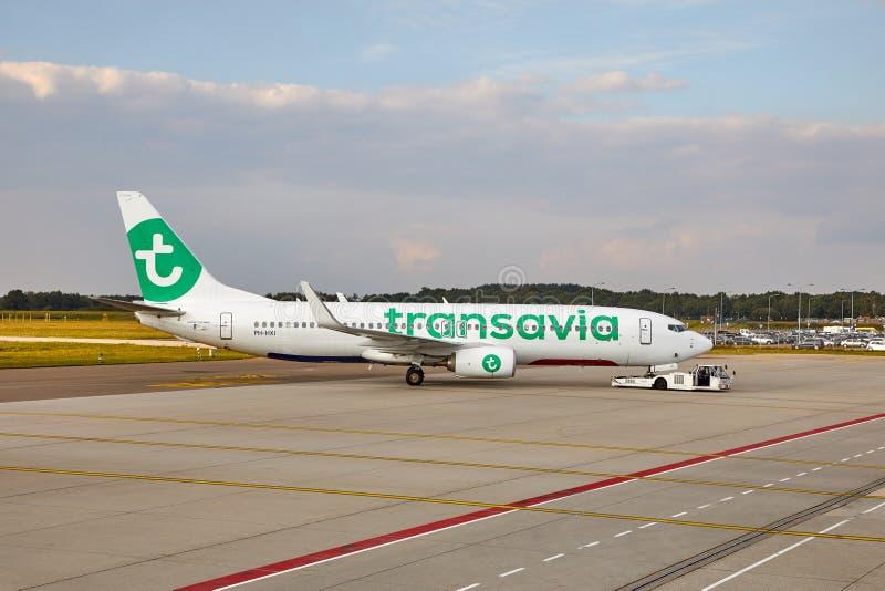 Transavia班机在机场 图库摄影