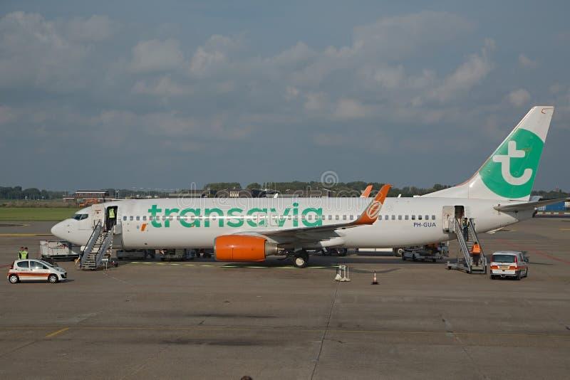 Transavia班机在机场 库存图片