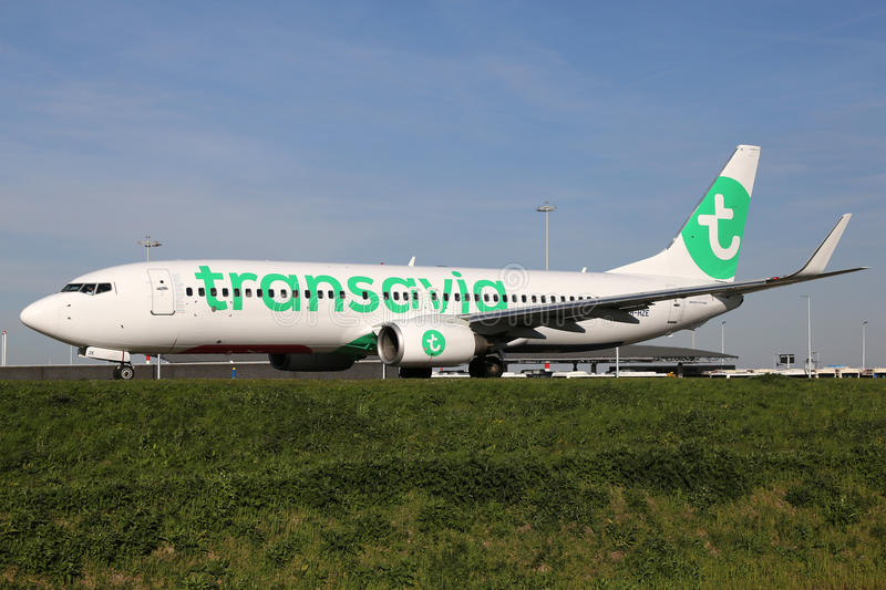 Transavia Boeing 737-800 airplane royalty free stock images