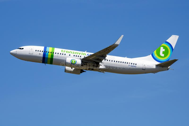 Transavia Boeing 737-800 F-GZHO passenger plane departure at Madrid Barajas Airport royalty free stock photography