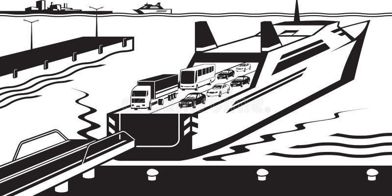Transbordador atracado en puerto libre illustration
