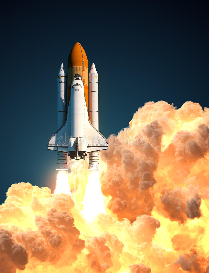 Transbordador espacial en las nubes del fuego stock de ilustración