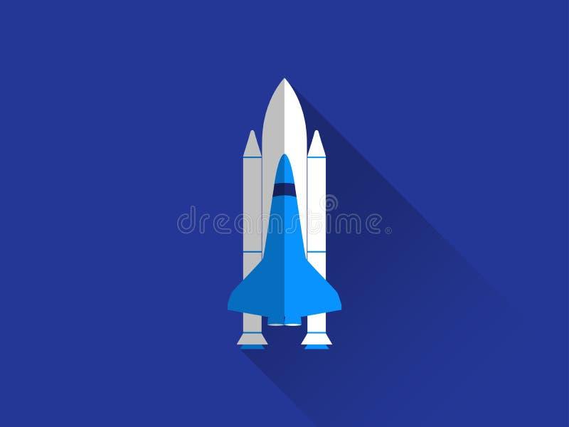 Transbordador espacial en un estilo plano con una sombra larga Vector ilustración del vector