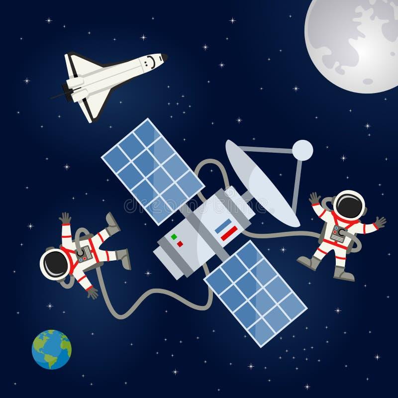 Transbordador espacial, satélite y astronautas stock de ilustración