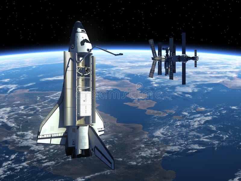 Transbordador espacial y tierra que está en órbita de la estación espacial. ilustración del vector