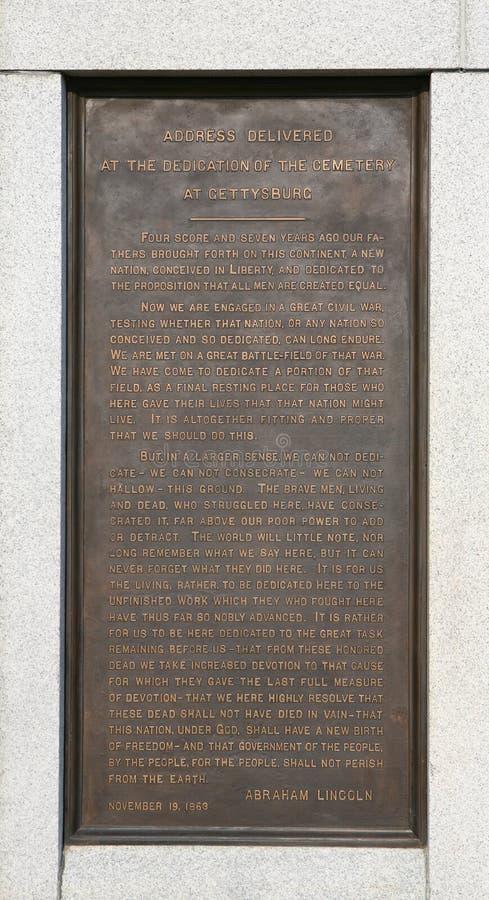 transcription de gettysburg d'adresse photographie stock libre de droits