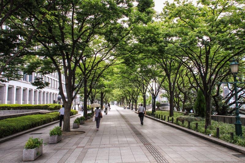 Transeúntes cerca en las calles y los parques durante un día de verano caliente, Osaka central, isla de Nakanoshima, Japón de Osa fotos de archivo libres de regalías