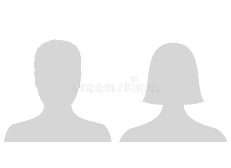 Transférez l'icône masculine et femelle de photo de profil d'avatar Texte d'attente gris de photo d'homme et de femme illustration stock