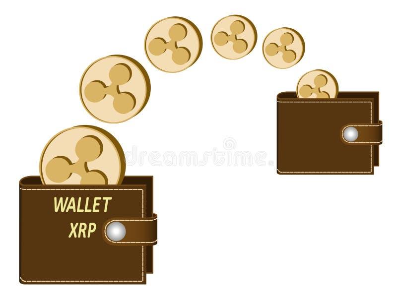 Transférez les pièces de monnaie d'ondulation à partir d'un portefeuille à l'autre illustration de vecteur