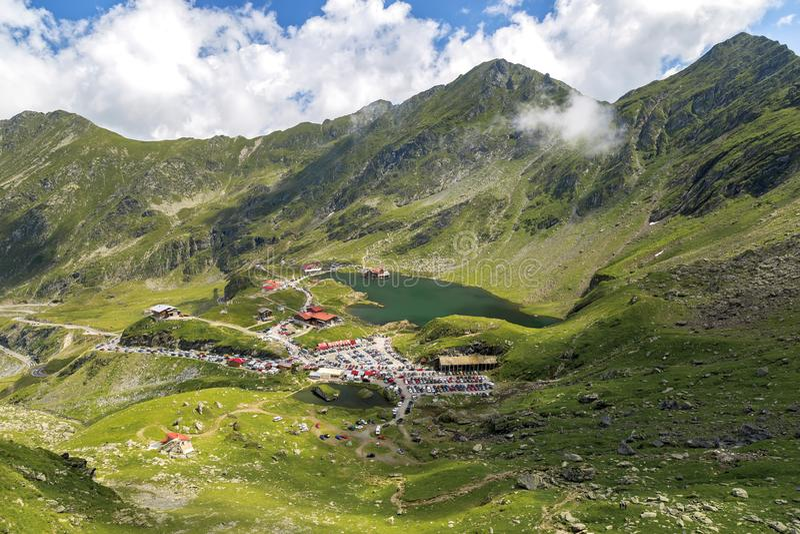 Transfagarasan Balea glacier lake in central Romania, Sibiu County stock image