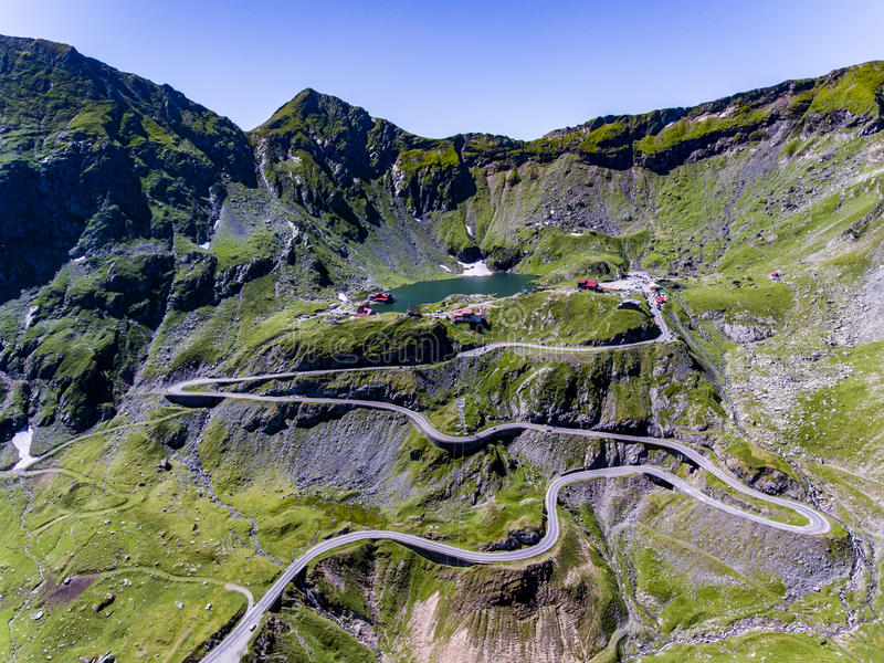 Transfagarasan and Balea Lake aerial view stock photo
