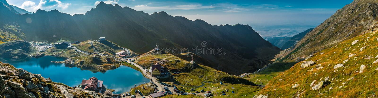 Transfagarasan Balea lake. Balea Lake, is a glacier lake situated at 2,034 m of altitude in the Făgăraș Mountains, in central Romania, in Cârți royalty free stock photo