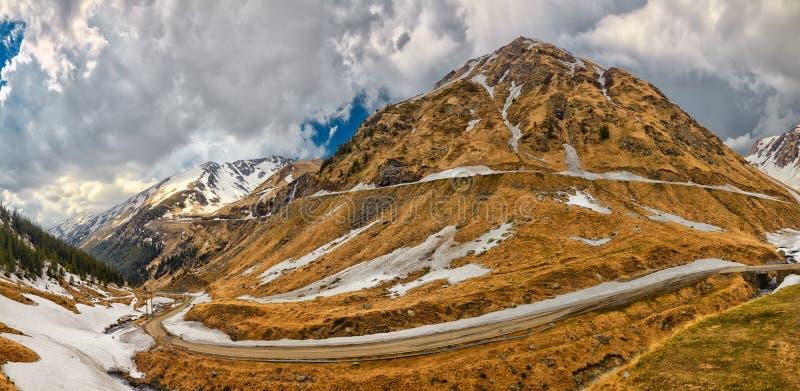 Transfagarasan Highway. Panorama of Transfagarasan Highway which crosses Fagarasi Mountains at 2000 m altitude, Romania stock photography