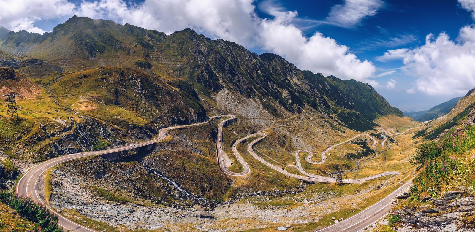 Transfagarasan highway, probably the most beautiful road in the world, Europe, Romania Transfagarashan.  stock photo