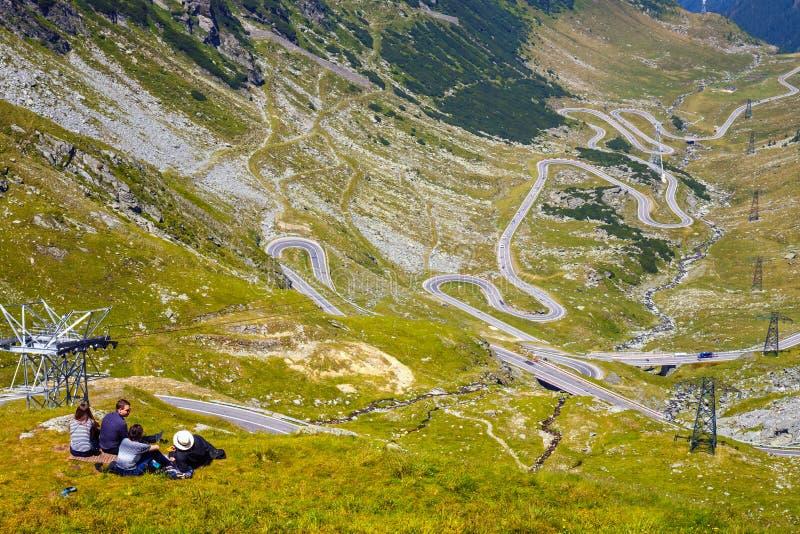 Transfagarasan mountain road in Romania. Spectacular road who climbs to 2,034 metres. Fagaras Mountains, Romania - JULY 21, 2014: Transfagarasan mountain road in royalty free stock photography