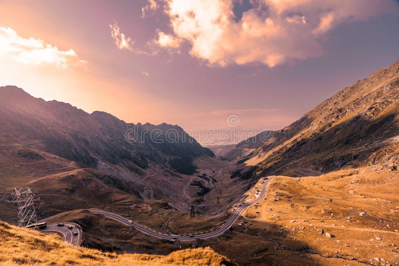 Transfagarasan pass in summer. Crossing Carpathian mountains in Romania, Transfagarasan is one of the most spectacular mountain royalty free stock image