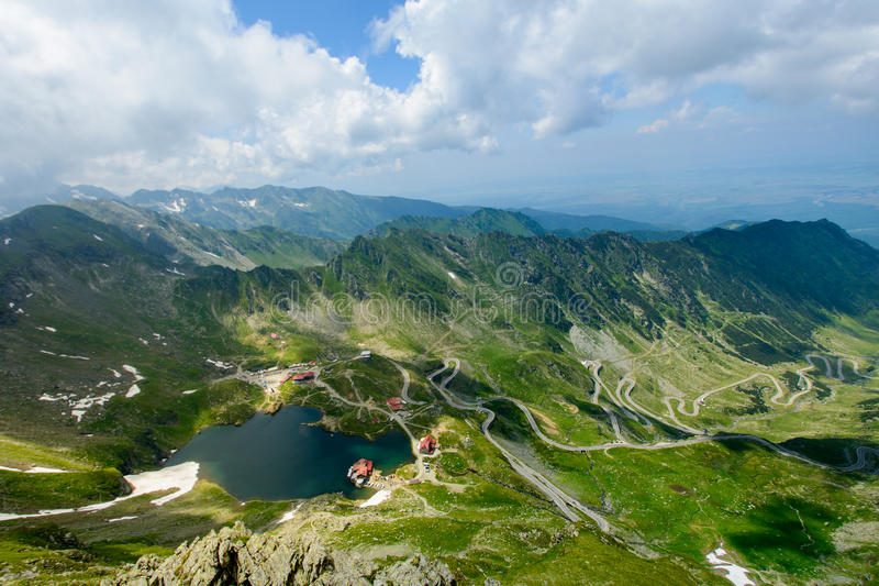 Transfagarasan road and Balea lake,Sibiu county, Transylvania, Romania. Transfagarasan is one of the most beautiful roads in the world. Also this landscape shows stock image