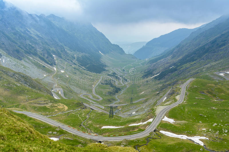 Transfagarasan road. Landscape with Transfagarasan road in Fagaras mountains, Romania. Transfagarasan, the most famous road in Romania royalty free stock photo